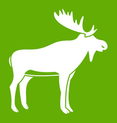 Deer icon green vector