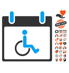Disabled person calendar day icon with dating vector