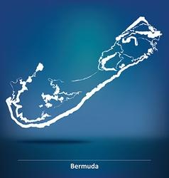 Doodle Map of Bermuda vector image