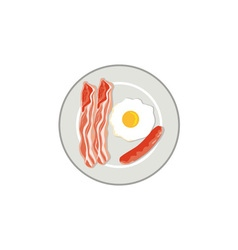 Egg Sausage Bacon Plate Retro vector image