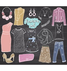 Fashion collection Doodles set Hand Drawn Sketch vector image