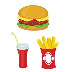 Fast food set Hamburger fries drink vector image vector image