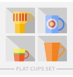flat color cups on shelf set vector image