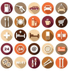 Flat icons of gas station vector image