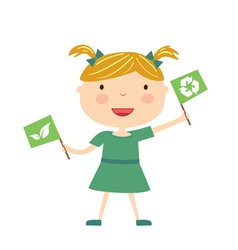 Girl with eco flag isolated vector