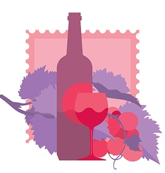 Glass of red wine bottle grapes vector image