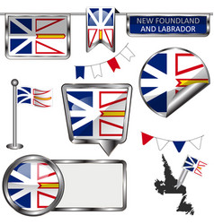 Glossy icons with flag of province newfoundland vector