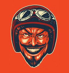 Hand drawing of devil wearing motorcycle helmet vector