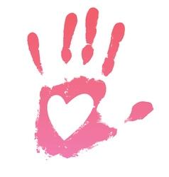 Handprint heart vector image