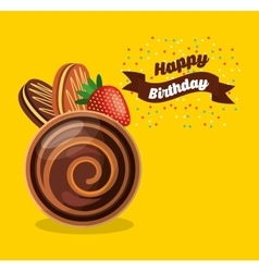 happy birthday celebration card with delicious vector image