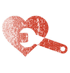 Heart surgery wrench grunge texture icon vector