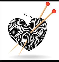 heart wool knitting needle isolates hobby vector image vector image