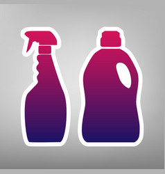 Household chemical bottles sign purple vector