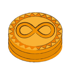 Infinitecoin cryptocurrency stack icon vector