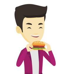 Man eating hamburger vector
