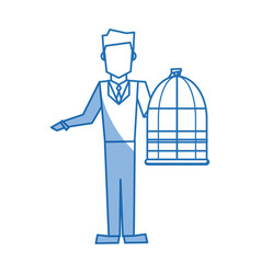 Man holding a cage bird empty veterinary concept vector