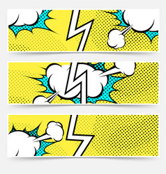Modern pop art style divided header set vector