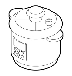 Multi cooker icon outline style vector