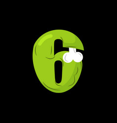 Number 6 zombie monster font six bones and brains vector