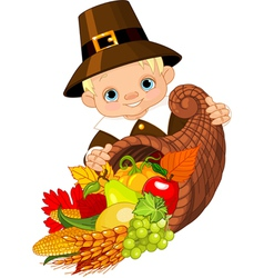 Pilgrim with cornucopia vector image