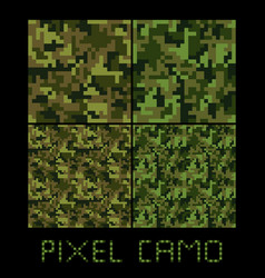 Pixel camo seamless pattern big set green forest vector