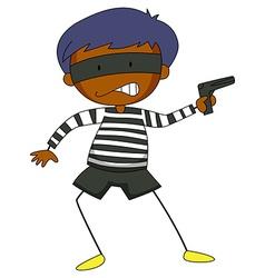 Robber holding a gun vector