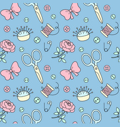 seamless pattern with hand drawn sewing doodle vector image vector image
