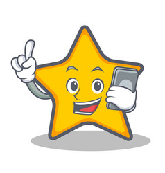 Star character cartoon style with phone vector