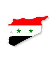 Syria flag map with shadow effect vector