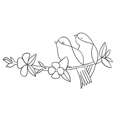Tattoo stencil bird flower vector image