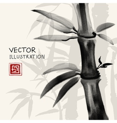 Traditional sumi-e background with bamboo vector image vector image