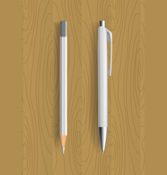 white pencil and pen on wooden table vector image vector image