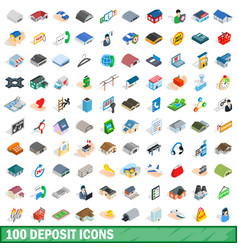 100 deposit icons set isometric 3d style vector