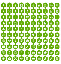 100 paint school icons hexagon green vector