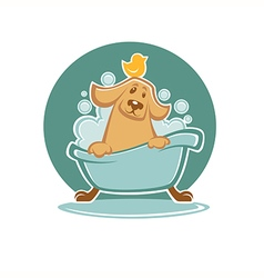 Dog in bath vector