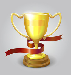 Golden metallic trophy cup winner award vector