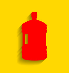 Plastic bottle silhouette sign  red icon vector