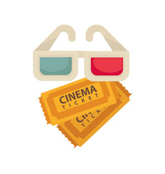 cinema 3d glasses and tickets for movie vector image