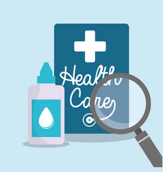 Health care eyedropper bottle search vector