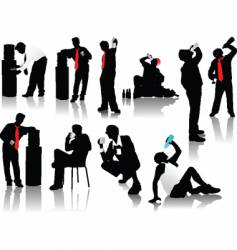 Drinking men silhouettes vector