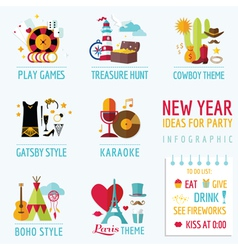 New Year Infographic - Party Ideas and Themes vector image