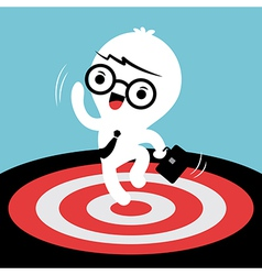 Business man jumping with target on the floor vector