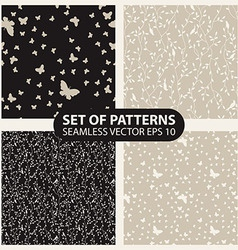 Set seamless graphic pattern of butterflies and vector