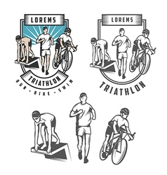 Triathlon emblems and design elements vector image