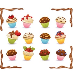 Cupcakes with chocolate frame vector