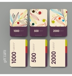 Gift coupon discount card template with floral vector