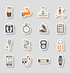 Fitness Icon Sticker Set vector image