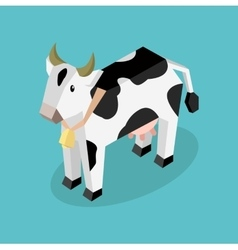 Black 3d cow with white spots vector