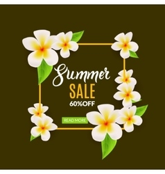 Summer sale promotional poster with flowers vector