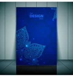 Blue business flayer template with indian ornament vector image